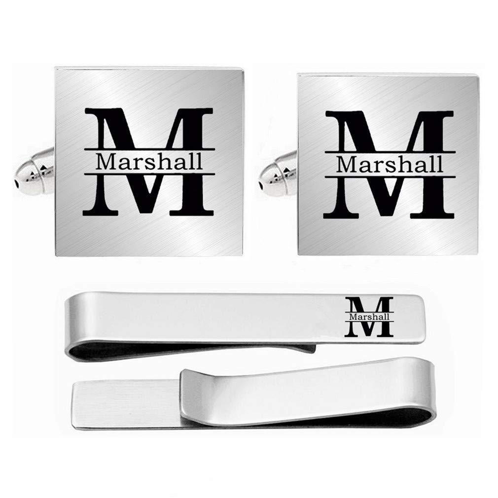 Kooer Personalized Monogram Wedding Engraved Cuff Links Tie Clip Set Custom Engraved Initials Cufflinks Jewelry Gift for Groom Groomsman (Style 3)