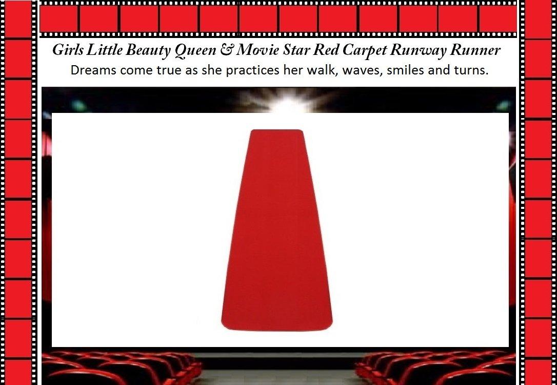 Girls LITTLE BEAUTY QUEEN & MOVIE STAR Practice Red Carpet Runway Runner (18''x6')