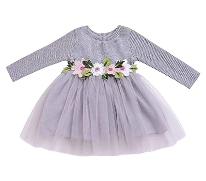 72a20ffa7e80 Amazon.com: Mini honey Toddler Kids Baby Girls Knitted Tulle Cap Tutu  Dresses Jersey Dress Winter Outfit: Clothing