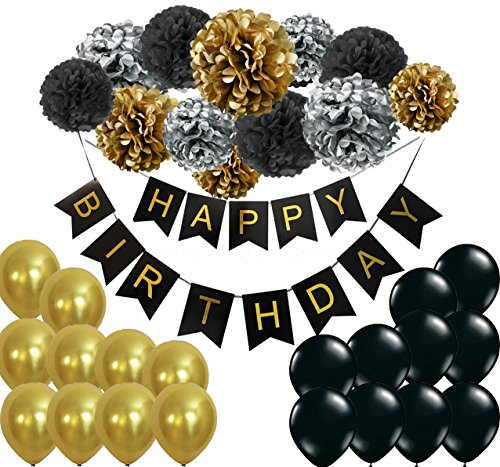 Happy Birthday Girlande Pompoms Gold Schwarz Silber Luftballons