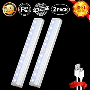 Zeutch Homelife Motion Sensor Magnetic LED lights for Closet Wireless Rechargeable, Stick on Anywhere for /Wardrobe/Drawer/Cupboard,White Light,2 Pack