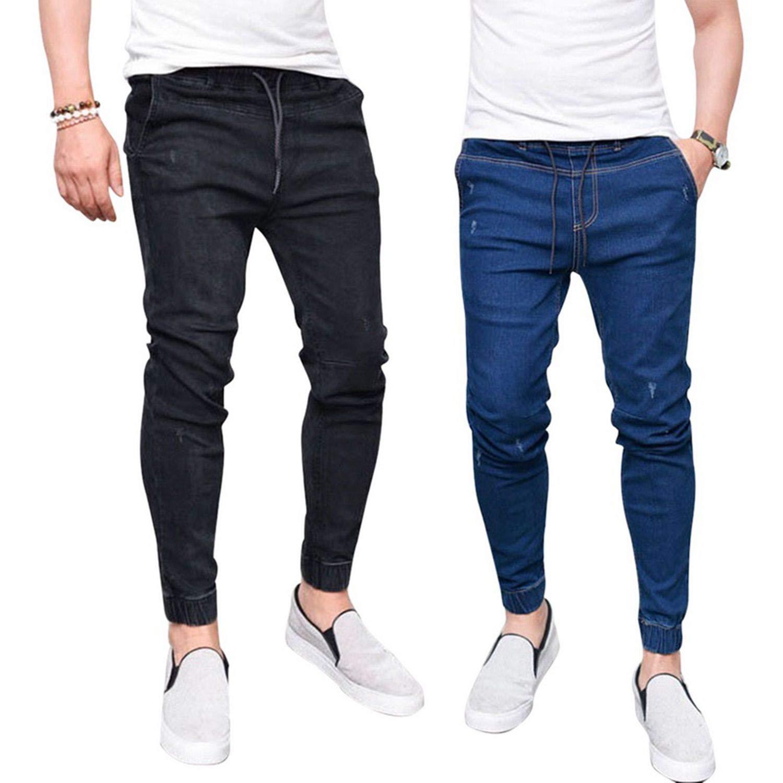 1d5de3c04c5 Nelliewins 2019 Harem Jeans Men Casual Washed Shinny Denim Jeans Male  Fashion Ripped Hip Hop Sportswear Pencil Pants Plus Size 3XL at Amazon  Men s Clothing ...