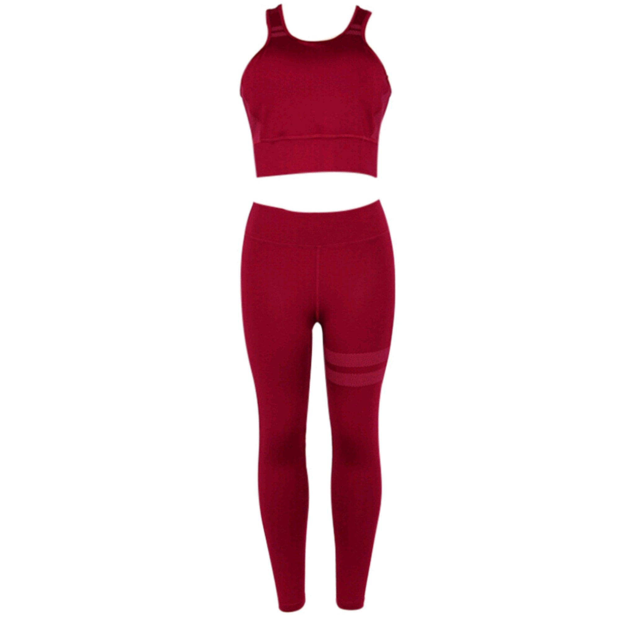 Premium Yoga Clothes Sets - Active Wear Tank Top/Bra and High-Waist Leggings 2 Piece Sets - Women Gym Clothes (Large, Red)