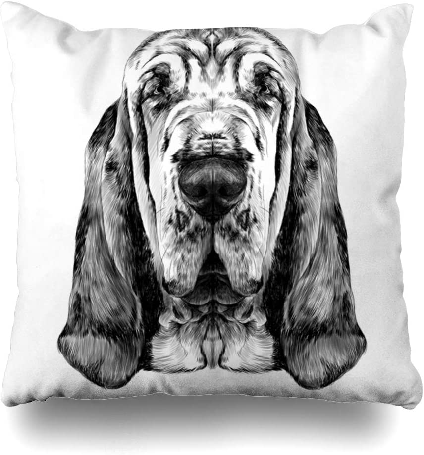 Ahawoso Throw Pillow Covers Bloodhound Face Head Dog Breed Graphics Cute Nature Black White Doberman Home Decor Pillow Case Square Size 16 x 16 Inches Zippered Pillowcase
