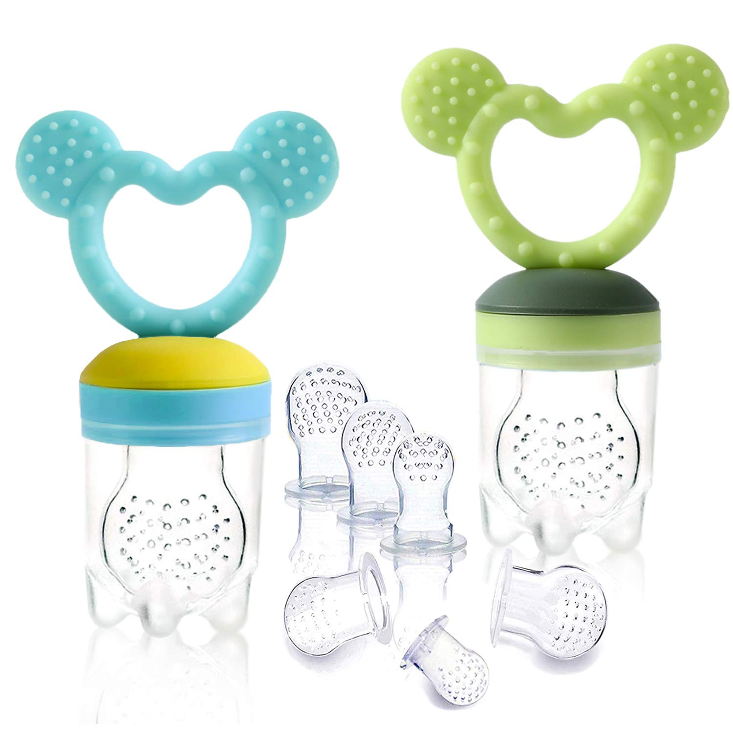 Baby Food Pacifier Feeder – (2 Pack) Fruit Silicone with Pacifiers Meshes Infant Fresh Frozen Fruit Newborn Hygienic Nibbler Cover Set