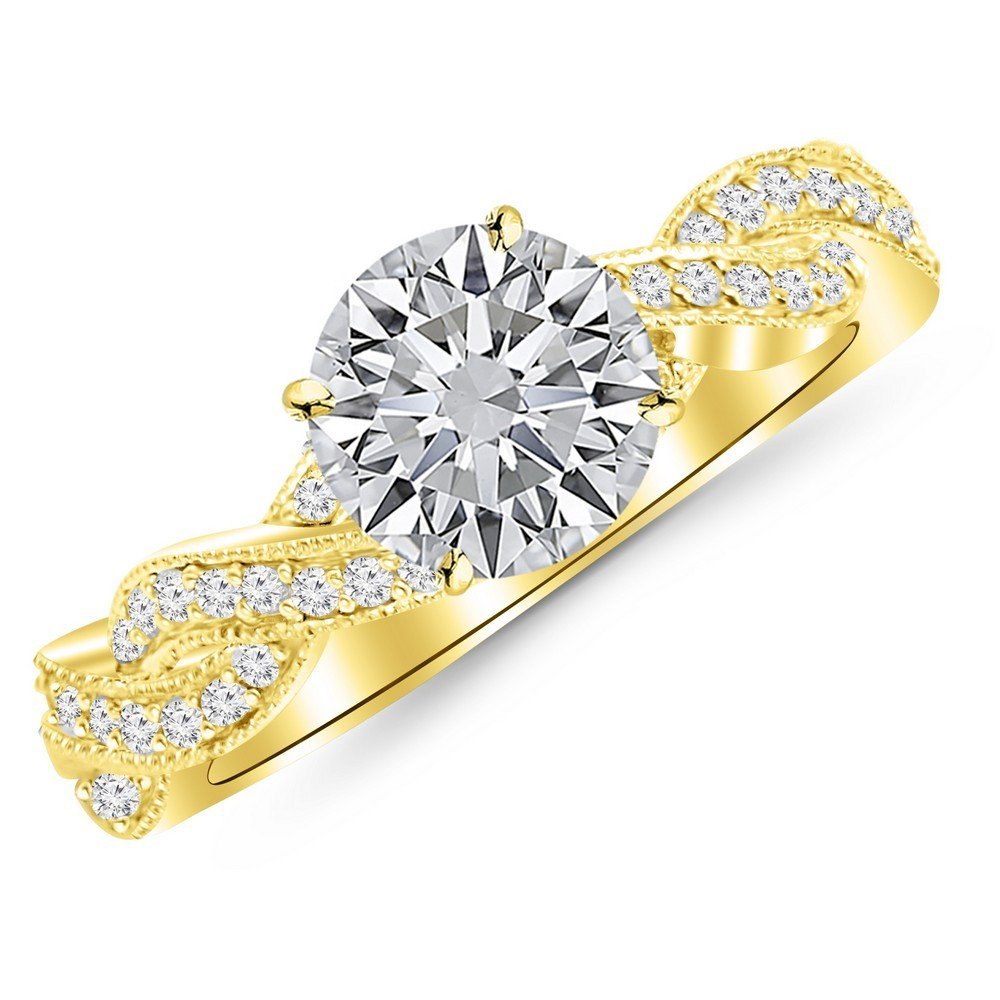1.78 Cttw 14K Yellow Gold Round Cut Vintage Eternity Love Twisting Split Shank Diamond Engagement Ring With Milgrain with a 1.5 Carat H-I Color I1 Clarity Center
