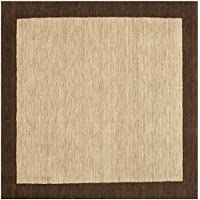Safavieh Himalaya Collection HIM585A Handmade Beige and Dark Brown Premium Wool Square Area Rug (6 Square)