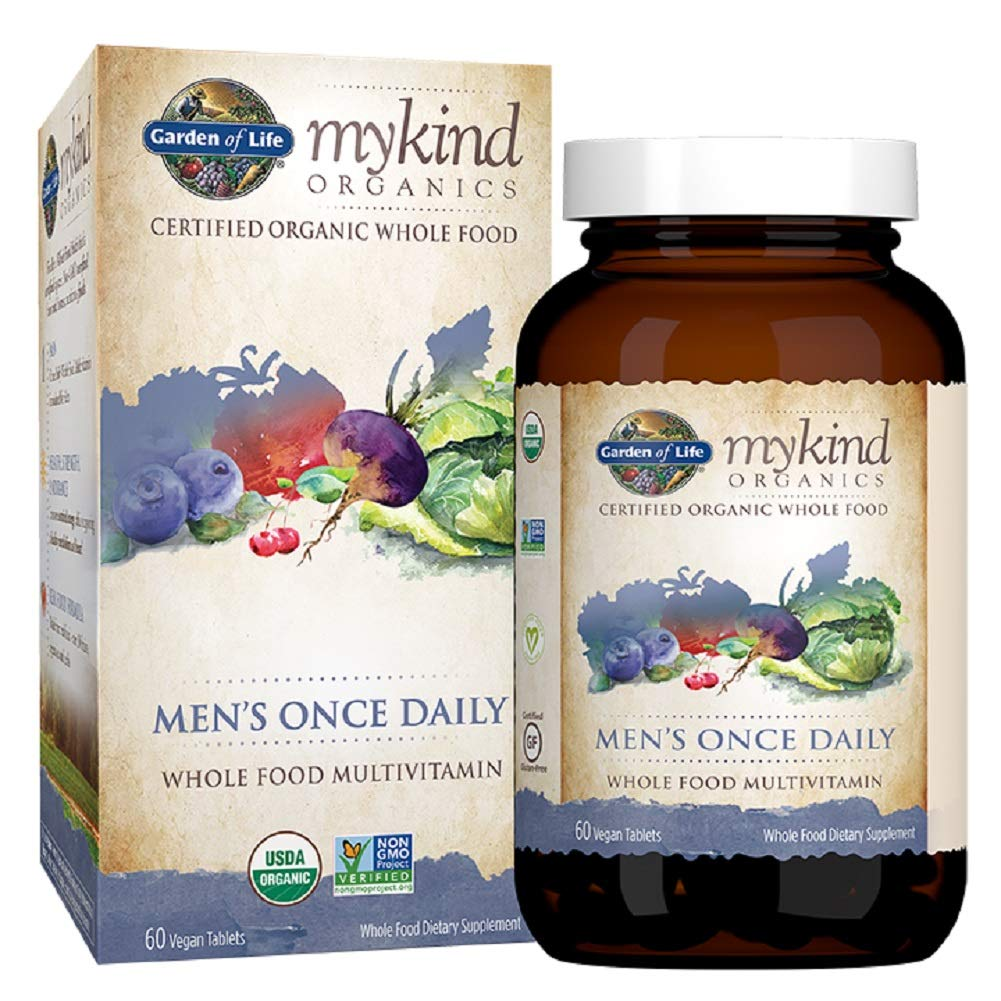 Garden of Life Multivitamin for Men – mykind Organic Men s Once Daily Whole Food Vitamin Supplement Tablets, Vegan, 60 Count