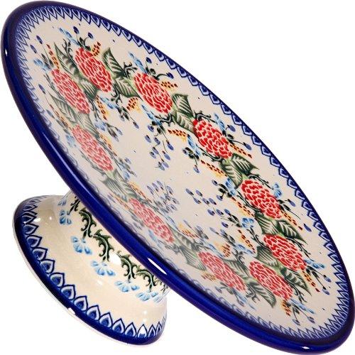 Polish Pottery Ceramika Boleslawiec-1151/280 Cake Plate, Royal Blue Patterns, (Pottery Serving Plate)