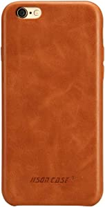 JISONCASE iPhone 6s Plus Case Genuine Leather Hard Back Case Slim Fit Protective Cover Snap on Case for iPhone 6 Plus/ 6s Plus [Brown]- JS-I6U-01A20