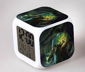 League of Legends MEIREN Anime Cartoon creación Reloj despertador infantil diseño de despertador digital-Reloj despertador analógico-Reloj de pared de luz ...