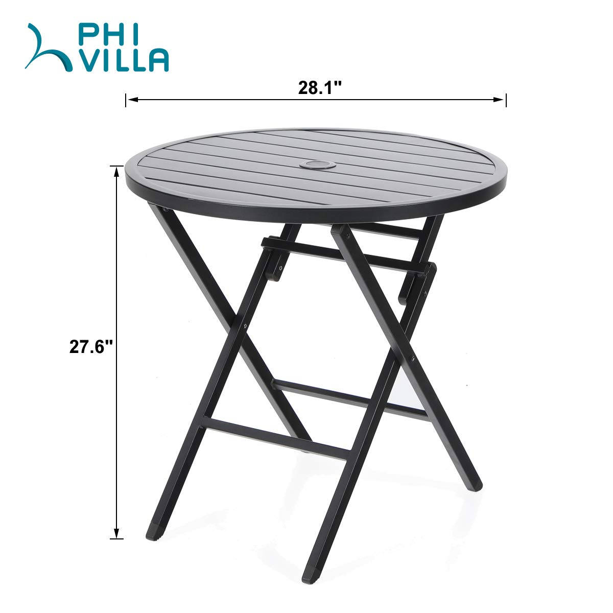 PHI VILLA Dia.28 Outdoor Patio Portable Round Folding Bistro,Dining Table with Aluminum Table Top and Metal Footing Frame