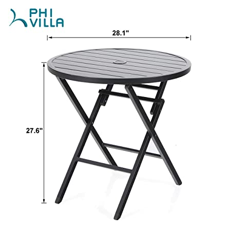 PHI VILLA Large Outdoor Patio Metal Portable Bistro Table , Round Folding Dining Table – Dia.28.1 x H27.6