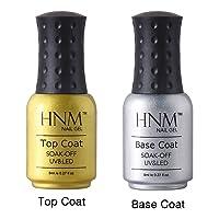 HNM Top Coat & Base Coat Kit Nail Gel Polish Sealer Primer Nail Art Salon Manicure Shiny