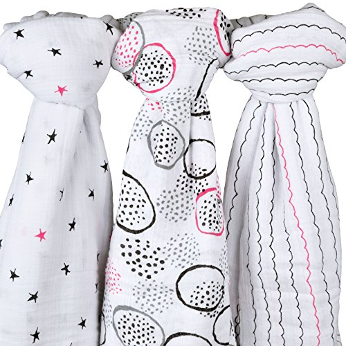 Cotton Muslin Swaddle Blanket 3 Pack Abstract Black and Hot Pink Circle Print by Ely's & Co.