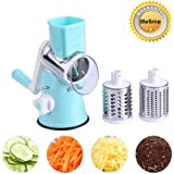 Vegetable Mandoline Manual Slicer, ZOLLOR Fast Fruit Veggie Spiralizer Cutter , Cheese Chopper Shredder, 3 Stainless Steel Blades Rotary Drum Grater
