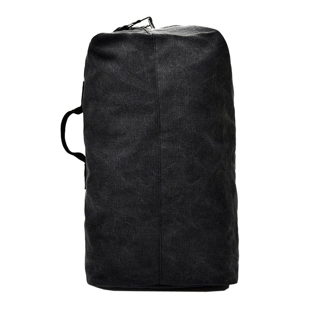 ZHANGVIP Vintage Neutral Outdoor Travel Sport Canvas Backpack High Capacity Satchel Hiking Bag Satchels (Black, L)