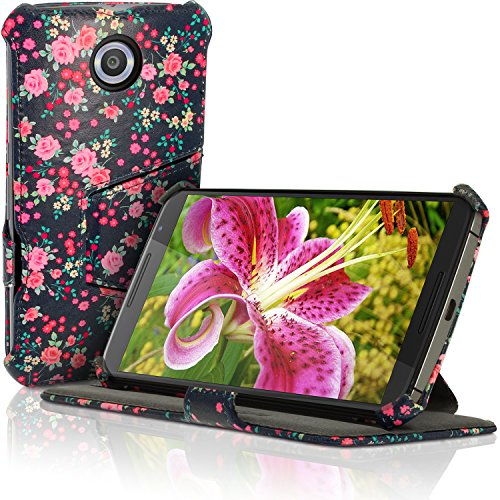 iGadgitz 'Designer Collection' Pink Rose Floral Pattern Folio Pink PU Leather Case Cover for Motorola Google Nexus 6 XT1100 XT1033 with Multi-Angle Viewing stand + Auto Sleep/Wake + Screen Protector (Nexus 6 Case Pattern)