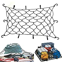 "Upgrade Bungee Cord Net EZYKOO 47"" x 36"" Elasticated Bungee Cargo Net Heavy Duty Auto Roof Tie-Down Net with 10 Hooks"