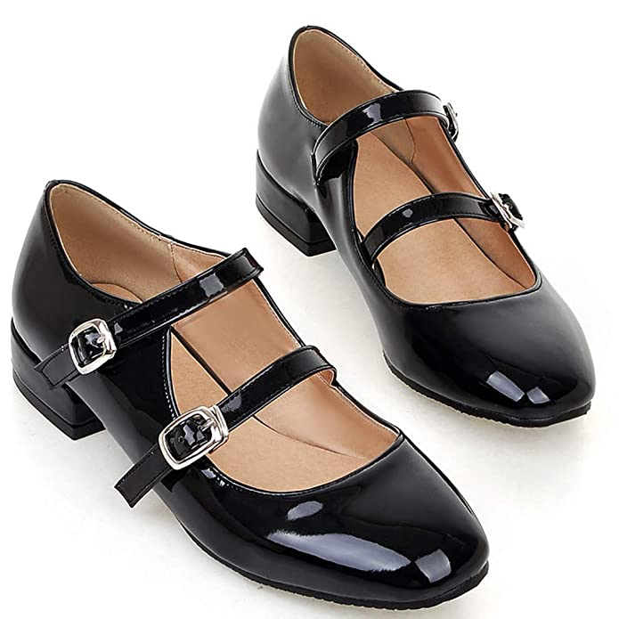 Vintage Style Shoes, Vintage Inspired Shoes Agodor Womens Flat Ankle Strap Mary Janes Work Shoes Patent Leather Casual Ballet Flats Shoes $33.99 AT vintagedancer.com