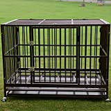 PANEY 48'' Large Dog Crate Kennel Folding Heavy Duty Dog Cage with Metal Tray Wheels Pet Playpen