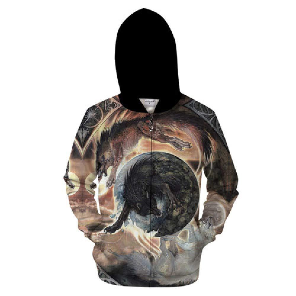 ZIP593 4XL WDDGPZWY Hoodie Kapuzenpul r Sweatshirt Tier Zip Hoodies Wolf Sweatshirts Männer Lustige Hoody 3D Zipper Trainingsanzug Streetwear Mantel 6XL Mit Kapuze