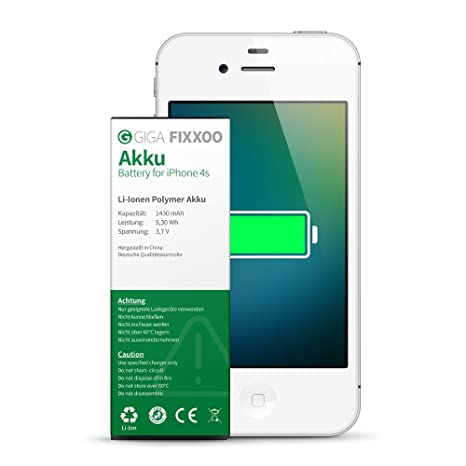 db73717fd39 GIGA Fixxoo Batteria agli Ioni di Litio di Ricambio per iPhone 4s  Alta  Durata e