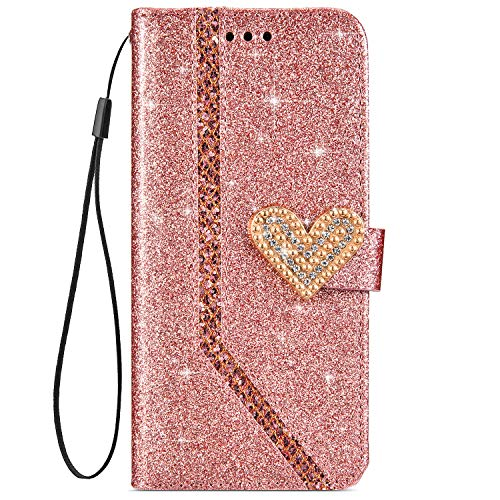 IKASEFU Shiny Rhinestone Diamond Sparkly Bling Glitter Luxury Wallet with Card Holder Flash Pu Leather Magnetic Flip Case Protective bumper Cover Case Compatible with iPhone 6 Plus/6S Plus,rose gold