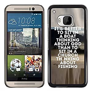 Planetar® ( Fishing Seaman God Christian Hobby Fun ) HTC One M9 Fundas Cover Cubre Hard Case Cover