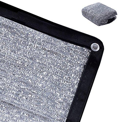 Aluminum Shade - Rovey 70% 6.5ft x 6ft Knitted Aluminet Shade Cloth Panels Sun Block Reflective