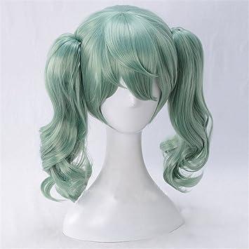 Xingwang Queen Anime Short Green Cosplay Wig Clip on Doule Wavy Ponytails Women Girls...