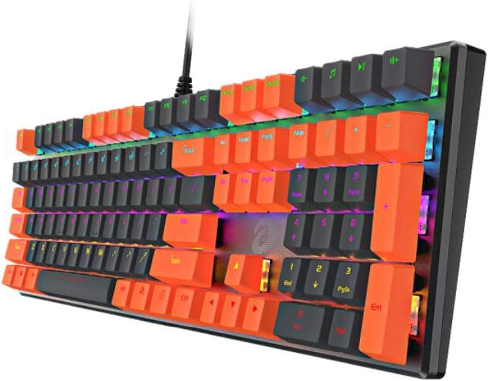 Jingfeng Mechanical Keyboard 108-key Mixed-Light Mechanical Keyboard Grey Orange Keycap Color : Black 24 Key Conflict-Free Design. Green Shaft
