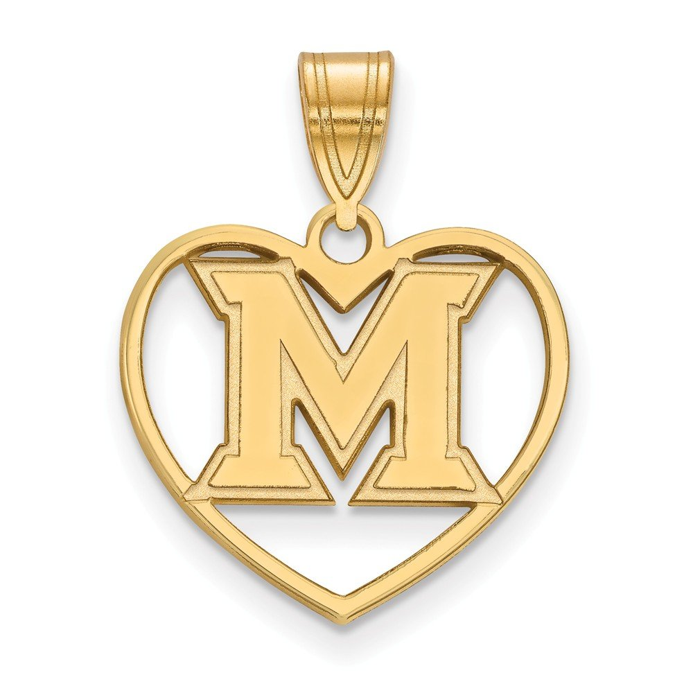 17mm x 23mm Jewel Tie 925 Sterling Silver with Gold-Toned Miami University Pendant in Heart
