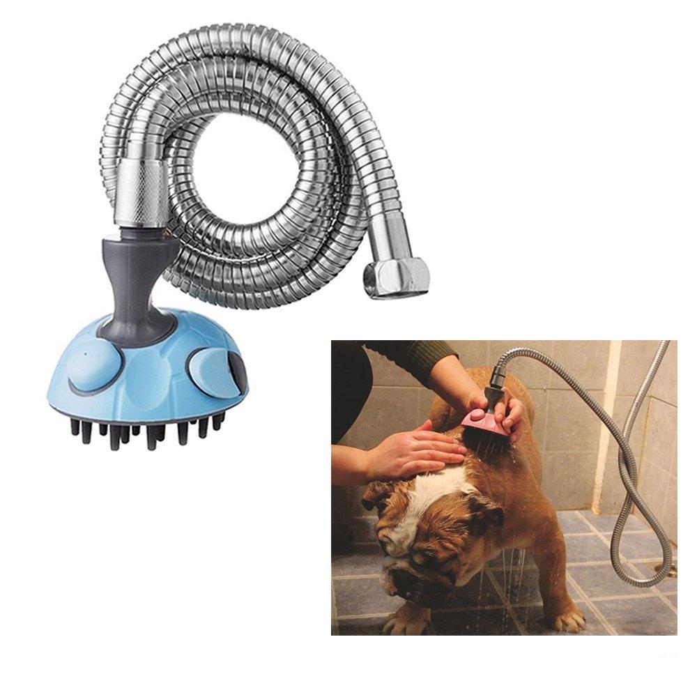 Animal domestique de bain Pulvérisateur par Rechel, multifonctions, chien et chat Douche Massage Shampooing Pulvérisateur à main Brosse Toilettage Toll avec tuyau en acier inoxydable pour une utilisation en intérieur et en extérieur