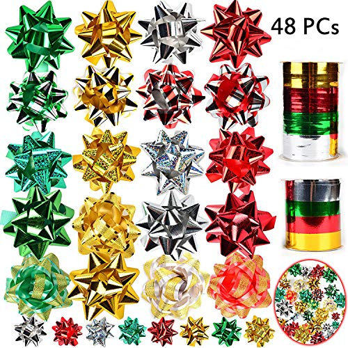JOYIN 46 Self Adhesive Bows & 8 Rolls of Christmas Curling Ribbons for Christmas, Bows, Baskets, Wine Bottles Decoration, Gift Wrapping and Decoration Present by Joiedomi.