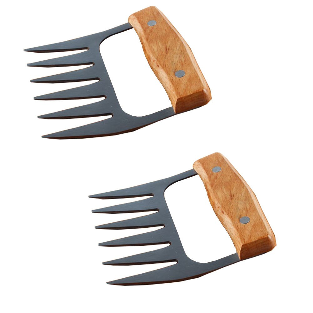 JMXC The Original Bear Paws Shredder Claws -STRONGEST BBQ MEAT FORKS - Easily Lift, Handle, Shred, and Cut Meats, Essential for BBQ Pros,Ultra Stainless steel Sharp Blades and Beech handle.(2 pieces)