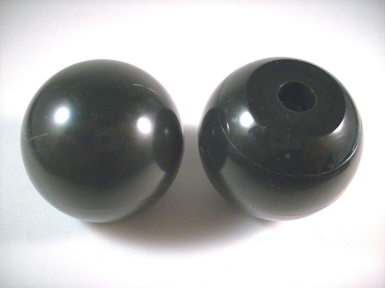 con rosca hembra u orificio taladrado 2 mangos//pomos de bola de pl/ástico aplanados negros