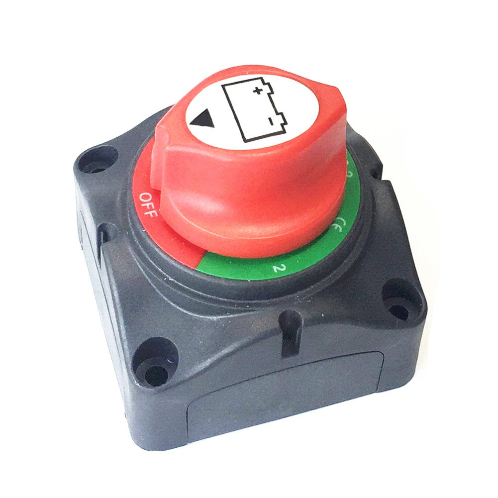 Qiorange 1-2-Both-Off Selector Battery Switches Battery Disconnect Isolator Master Switch for Marine Boat Car Rv Vehicles