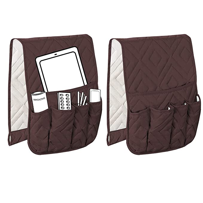 Grey//Beige 13 x 35 Diamond Pattern 2 Packs H.VERSAILTEX 5 Pockets Couch Sofa Chair Armrest Organizer for Phone Book Magazines TV Remote Control Anti-Slip Armrest Organizer