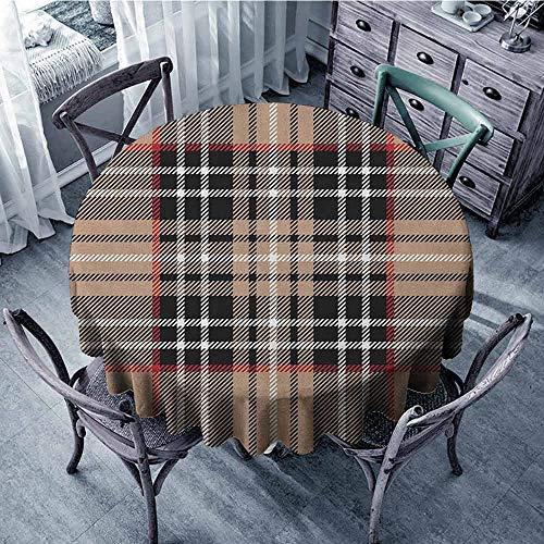 Summer Round Tablecloth Circular Table Cover Checkered,Classical Tartan in British Style Design Geometric Ornament Striped, Pale Brown Orange White Diameter 70