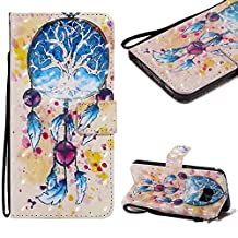 Cistor Strap Flip Case for Samsung Galaxy S7,Stylish 3D Art Painted Stand Wallet Case for Samsung Galaxy S7,Shockproof Slim Fit PU Leather Case with Card Slot Magnetic Closure Ring Holder,Dreamcatcher