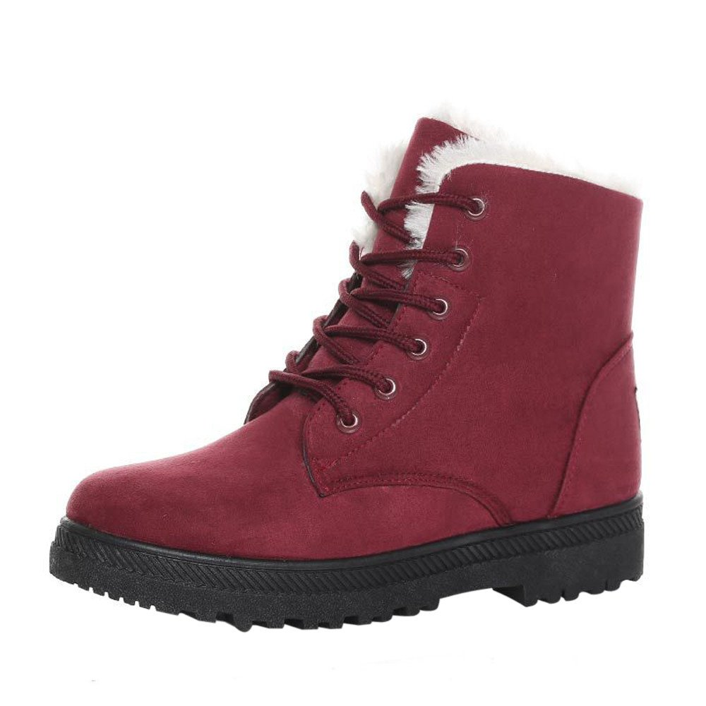 Affordable!Winter Newest Round Head Shoes, Solid Color Bandage Plus Velvet Thickening Ladies Warm Snow Boots 21 19