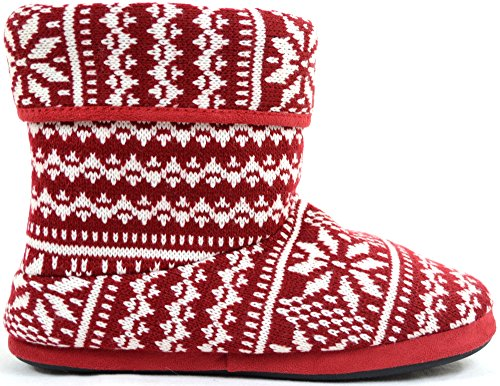 Slipper Style Red Mens Lined Fleece Boots Warm Knitted Booties pqw4Hg