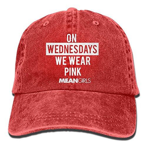 E-Isabel Mean Girls We Wear Pink Adjustable Hip Hop Cotton Washed Denim Hats Red