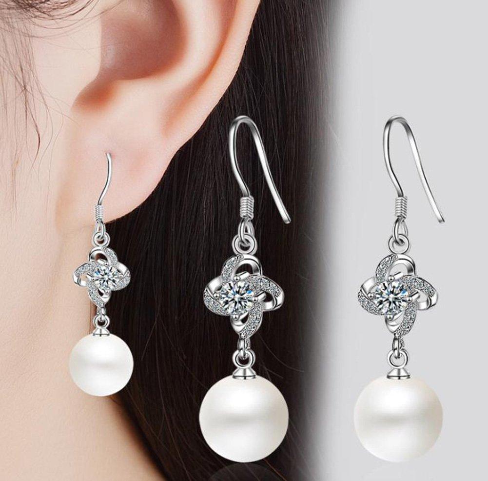Outflower Orecchini di Perle minimaliste con Simpatici Orecchini Donna Clover Eleganti Gioielli per Feste Regalo di Compleanno