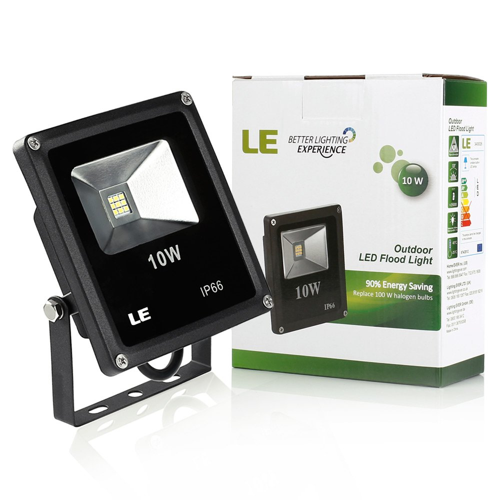 LE 10W Super Bright Outdoor LED Flood Lights, 100W Halogen Bulb Equivalent,  Waterproof, 700lm, Security Lights, Floodlight (Daylight White)      Amazon.com