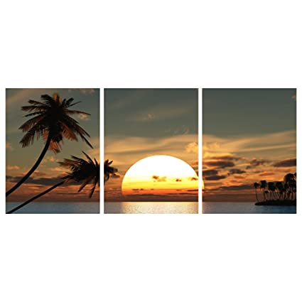 GEVES Seaside Sunset Landscape Coconut Palm Contemporary Wall Art Canvas  Painting Home Wall Decor Prints Posters