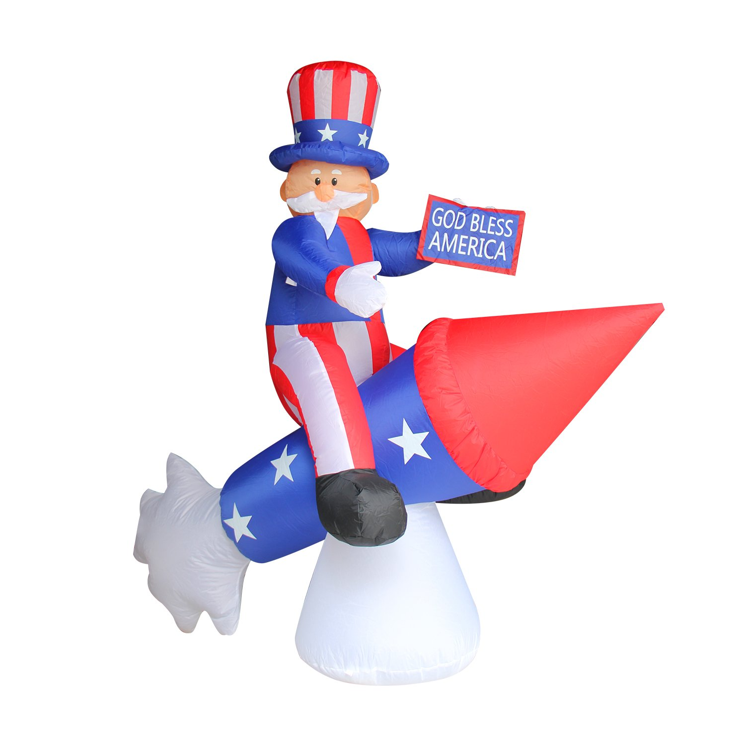 JF Deco 6 Ft Independence Day/Flag Day Patriotic Inflatable Uncle Sam on Rocket Decorations Home Yard Outdoor Indoor Decoration