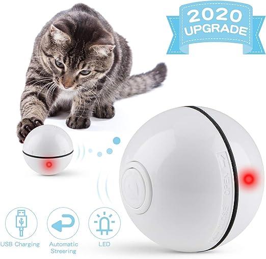 Bolas de juguetes para gatos Bolas interactivas automáticas de juguete de dirección de cambio recargables USB Bolas de juguete para gatos con luz LED Bolas de cazador de gatos Juguetes de blanco: