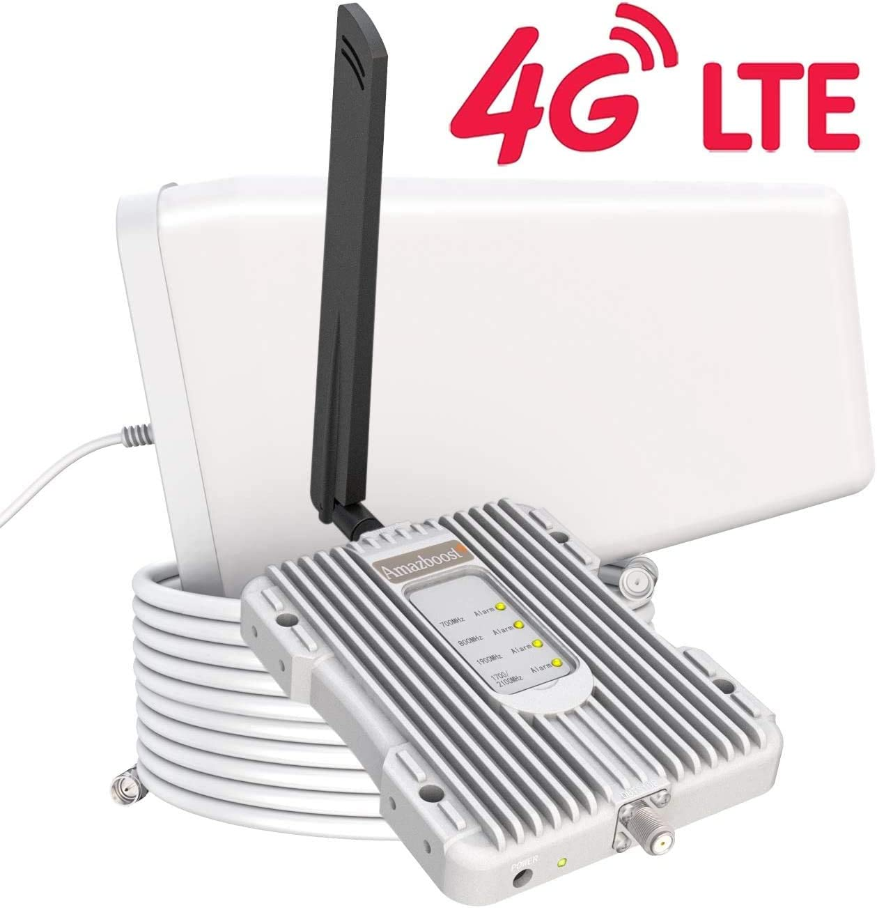 Amazboost Enhances Antenna Cell Phone Booster for Home Office- 4G 3G LTE Data for Verizon, AT&T, T-Mobile, Sprint Supports Up to 2500 Square Foot Area